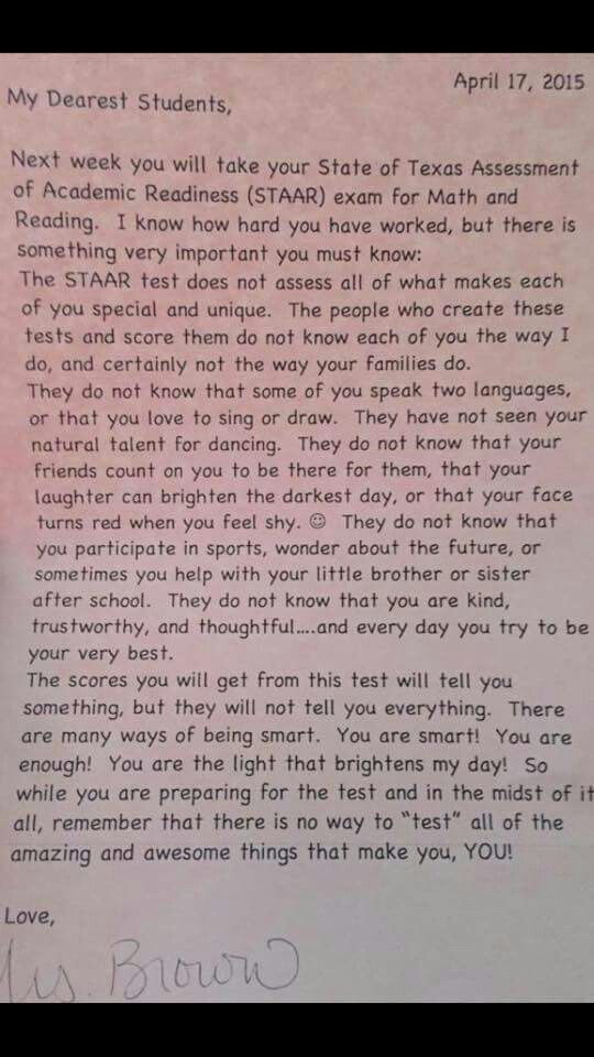 A letter a teacher wrote to her pupils. Read it to your child.x