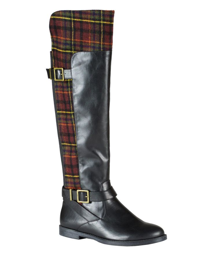 Take a look at this Black & Burgundy Plaid Romy II Boot today!