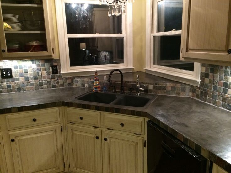 Concrete over tile with Encore Complete Countertop Refinishing System  Love  it. 21 best Things I ve done images on Pinterest   Dream kitchens