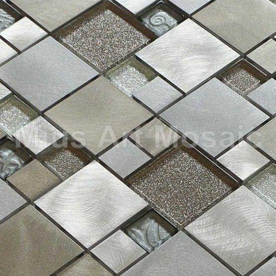 Glass mosaic mixed aluminium alloy mosaic kitchen mosaic A1L032 - ICON2 Luxury Designer Fixures  Glass #mosaic #mixed #aluminium #alloy #mosaic #kitchen #mosaic #A1L032