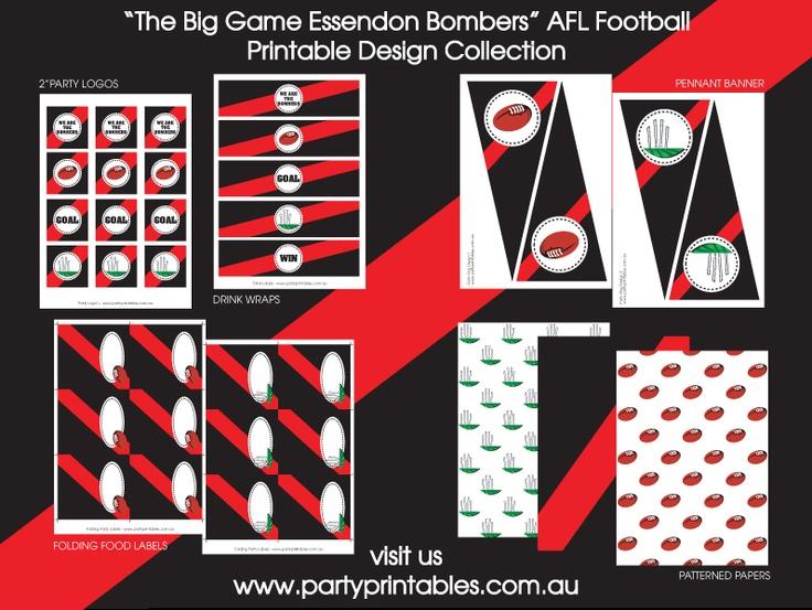 Essendon Football Party Printable Collection