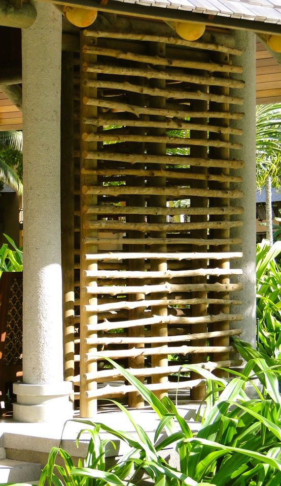 If you are considering making up a privacy screen visit local timber merchants and look at treated or stained saplings, or even thick rope, as a more affordable material to use for making your privacy screen.