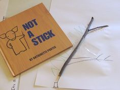 """Not a stick - children choose a stick from the playground, bring it in and glue it to their paper and create something on their sheet from their stick. """"Not a stick"""""""