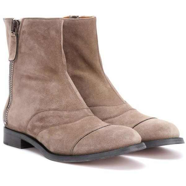 Chloé Lexie Suede Ankle Boots ($1,175) ❤ liked on Polyvore featuring shoes, boots, ankle booties, beige, beige boots, beige ankle boots, chloe bootie, suede ankle bootie and beige ankle booties