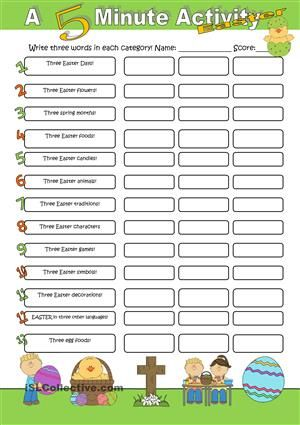 Who can up with three words in each category first? A fun Easter competition. - ESL worksheets