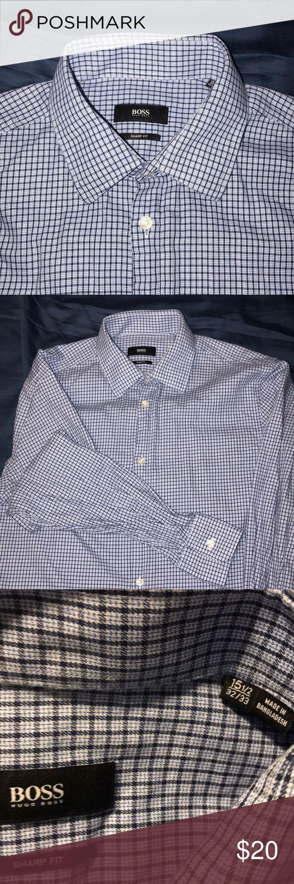 Hugo boss dress shirt. Hugo Boss dress shirt. Plaid blue/white. Never used just washed Hugo Boss Shirts Dress Shirts