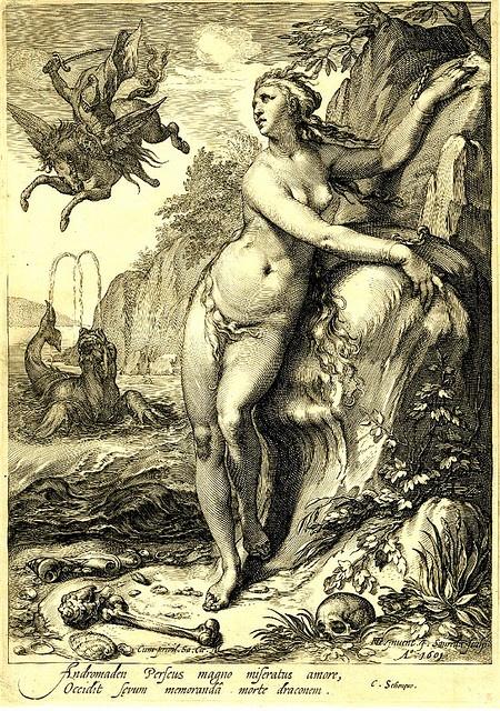 Perseus-and-Andromeda-monster Engr. Hendrik Goltzius 1601