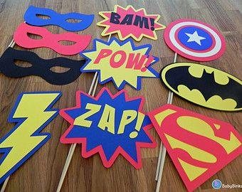 Photo accessoires : Le Super héros Set (10 pièces) - fête mariage anniversaire engagement die cut-superhero masque pow superman Amérique batman bâton
