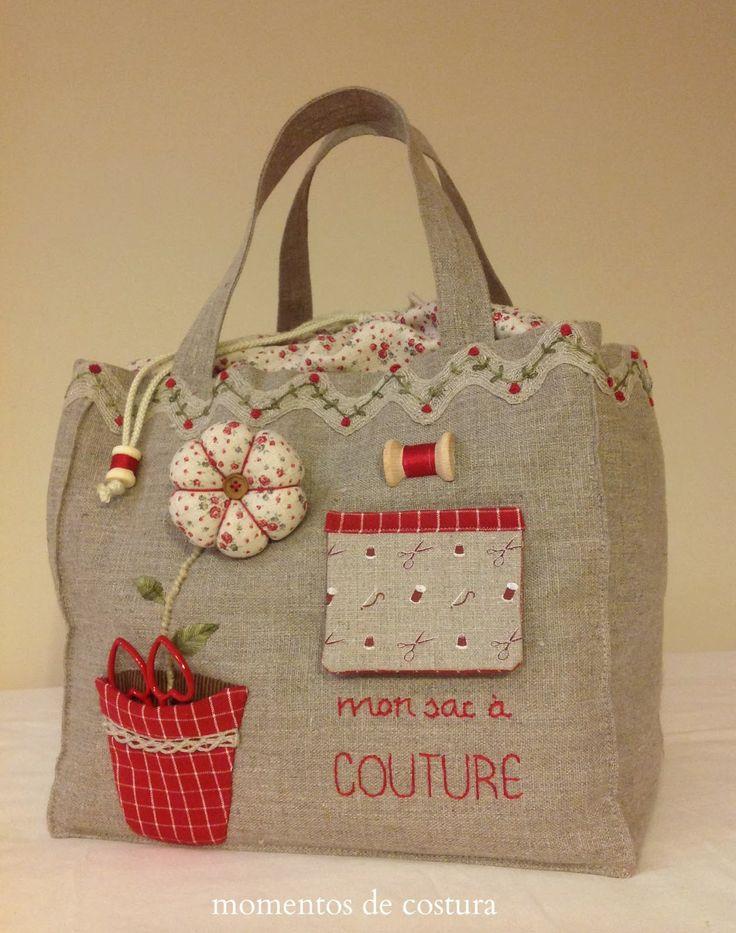 Sewing bag, drawstring top