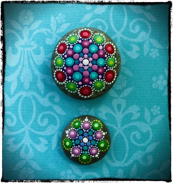 Jewel Drop Mandala Painted Stone- Summer Berries #elspethmclean #art #mandala #meditation #yogaroom #decorate #colourful #rainbow