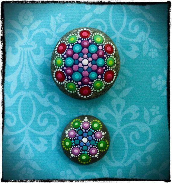 Summer Berries Jewel Drop Mandala Painted Stones by ElspethMcLean