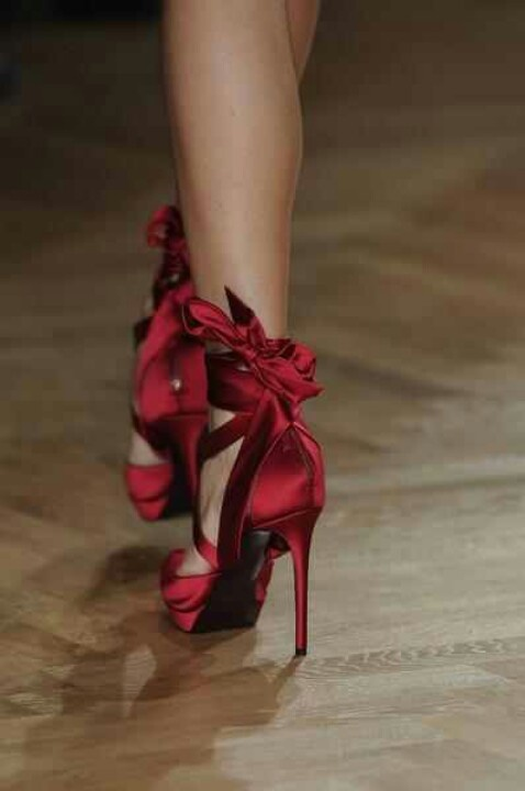 Red satin heels with back ties in a bow | Brides Shoes ...