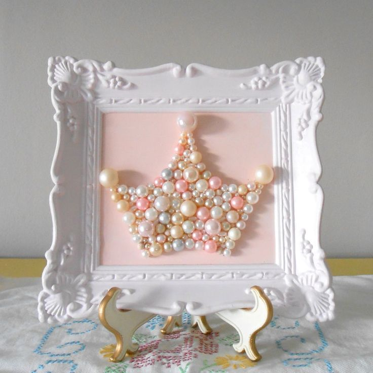 Pearl princess crown art. Mosaic wall art. Pastel pink. Painted ornate frame. Shabby chic girls room. Sparkle glitter picture.