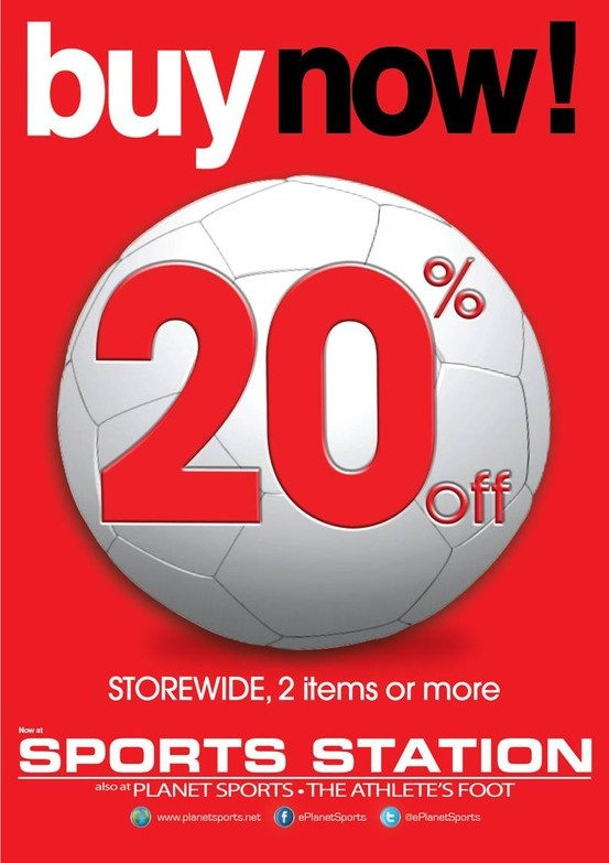 Head down to Sports Station and get 20% off!