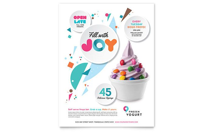 Frozen Yogurt Shop Flyer Template Design by StockLayouts
