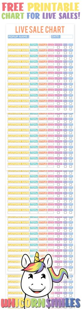 Live Sale Customer Chart UPDATED version! LuLaRoe Fashion Retailer Consultant Live Sale FREE printable chart