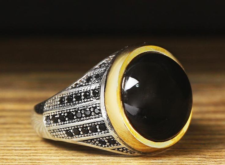 925 K Sterling Silver Man Ring Black Onyx 9 US Size #istanbul #Cluster