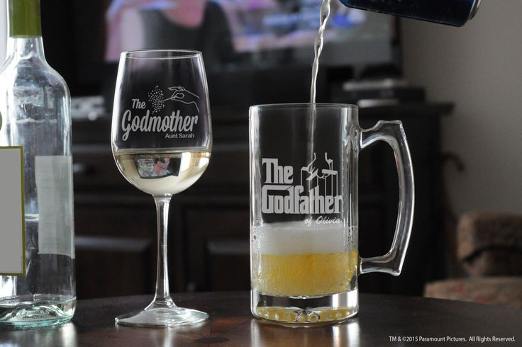 Christening Gift for Godfather & Godmother, Baptism Gift for Godparents, Tall Wine Glass and Beer Stein, Will You Be My Godparent Gift Set by GodparentBaptismGift on Etsy https://www.etsy.com/listing/233630348/christening-gift-for-godfather-godmother