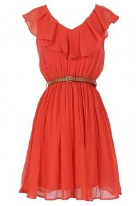Katrina Ruffle Contrast Belted Dress in Coral