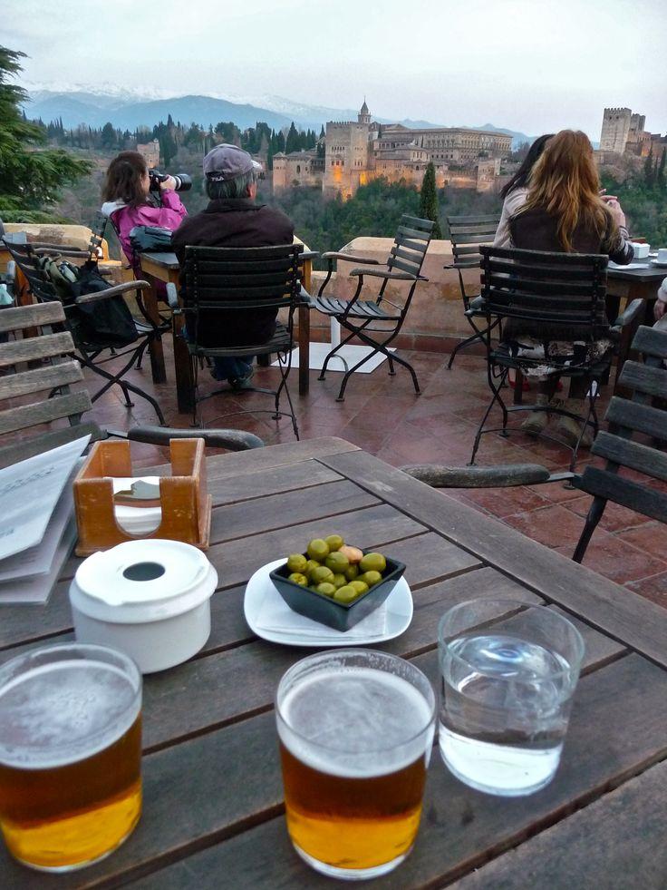 Alhambra beer + olives + the Alhambra at sunset = heaven