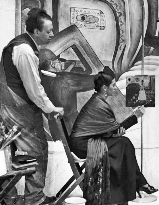 Inside the DIA while Diego Rivera works on the Industry Murals. Frida Kahlo is painting Self Portrait Between the Borderline of Mexico and the United States, 1932 #MrBowerbird