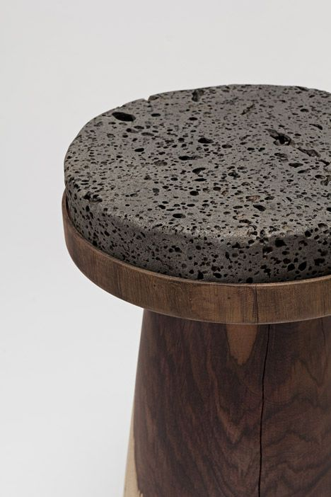 South Korean designer Jeonghwa Seo has created a collection of stools and tables using 12 different materials in 15 different combinations.