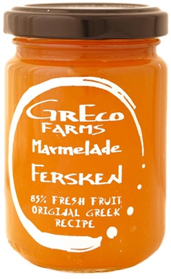 Peach Jam, seen at www.hverdagsdeluxe.dk. Manufacturer: Greco Farms. 85 gr of pure fruit per 100 gr of product