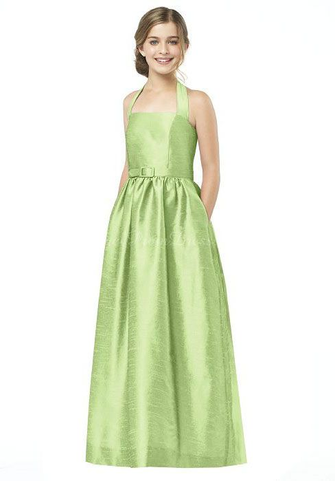 Sash Halter A-line Green Lime Junior Bridesmaid Dress