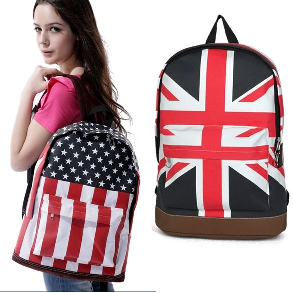 2014 New Fashion Unisex Canvas Punk School Book Campus Bag Backpack UK US Flag