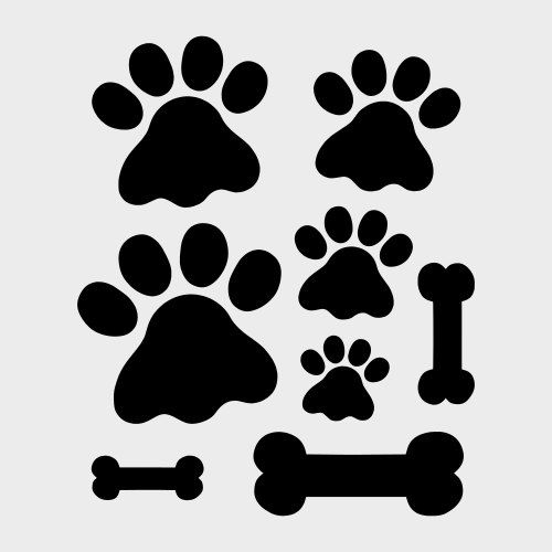 "PAW PAWS STENCIL bones different sizes bone paw prints stencils pattern template templates craft scrapbook new 8"" x 10"""