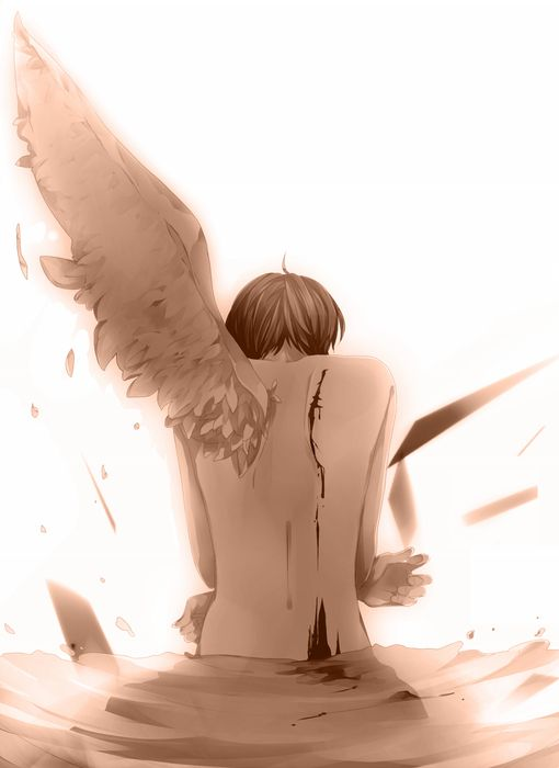 ((Open rp. I'm the angel, you be the demon. gay rp cuz yeah)) I had loved a demon and he loved me. You weren't supposed to date a demon I knew that but...it just happened. They found out and my punishment for liking a demon was, getting rid of one of my wings. After they cut it off, I sat there crying. You walked up to me.