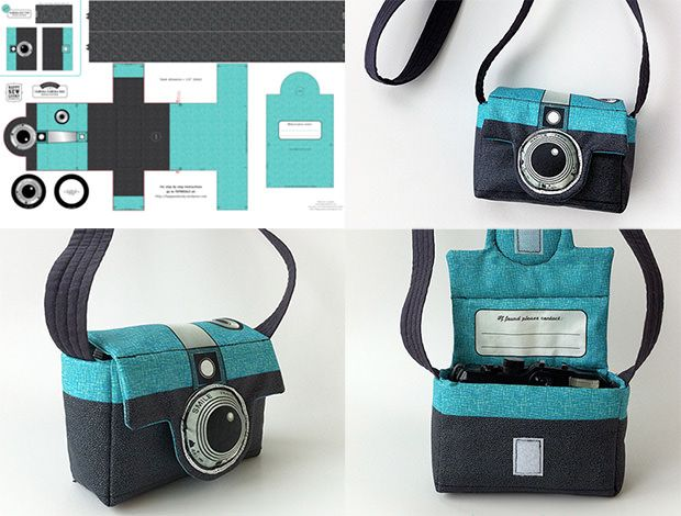 Berene Campbell of Happy Sew Lucky has a nifty cut-and-sew fabric design that lets you make a camera bag that looks like a Diana camera of the sixties: Thi