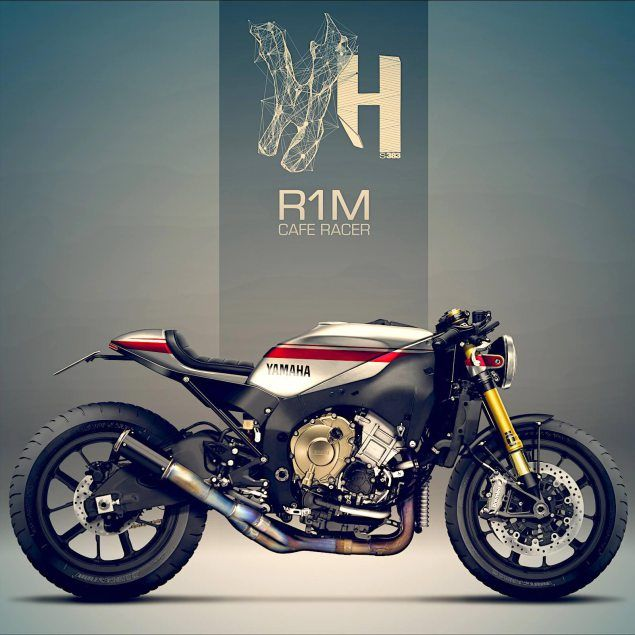 Yamaha R1M Café Racer by Holographic Hammer | Of a two wheeled