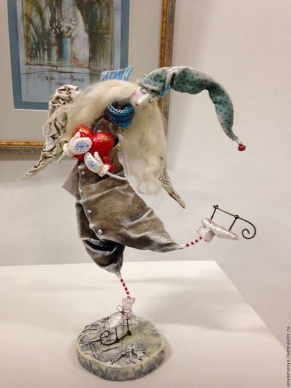 Коллекционные куклы ручной работы. Ярмарка Мастеров - ручная работа. Купить Ангелочек на конечках. Handmade. Разноцветный, авторская кукла, Паперклей