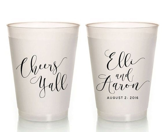 Custom Wedding Cups Party Cups Wedding Cups Wedding Favors Cheers Y'all Wedding Favors Frosted Plastic Cups Bridal Shower Favors 1416 by SipHipHooray