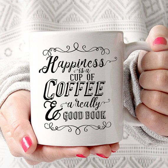 Happiness is a Cup of Coffee and a Really Good Book | Book Lover | Coffee Lover | Reading Coffee Mug by JitterMug