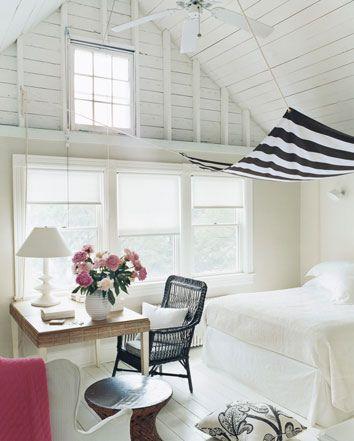 attic bedroom cozy: Attic Bedrooms, Beaches Houses Bedrooms, Interiors Design, White Rooms, White Bedrooms, Canopies Beds, Stripes, Guest Rooms, Beaches Bedrooms