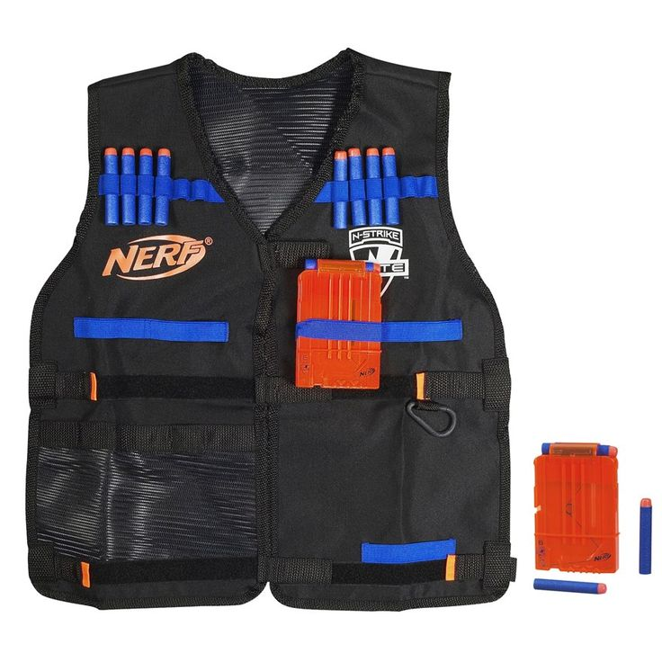 Get ready for battle with the NERF N-Strike Elite Tactical Vest.The NERF Tactical Vest keeps you prepared while on the move for any mission.The vest's dart storage loops hold up to 12 darts, and you can fit 2 Quick Reload Clips in the clip storage area. There's a pocket for blaster storage so you can carry some backup firepower, and another pocket for whatever else you need to complete the mission! With all the ammo and firepower you can fit in your Tactical Vest and your blaster in your…