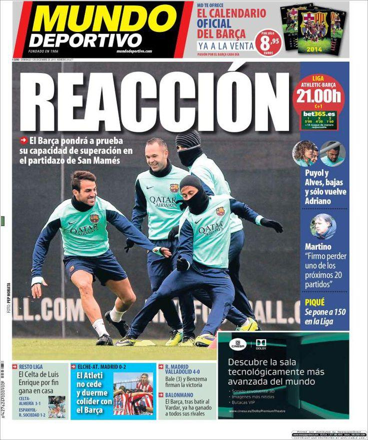 Los Titulares y Portadas de Noticias Destacadas Españolas del 1 de Diciembre de 2013 del Diario Mundo Deportivo ¿Que le pareció esta Portada de este Diario Español?