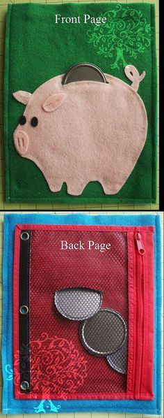"""Front and back pages of the """"Piggy Bank"""" quiet book."""