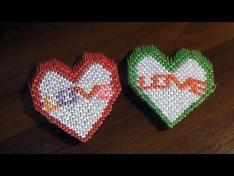 3D origami valentine heart with text LOVE tutorial instruction - YouTube