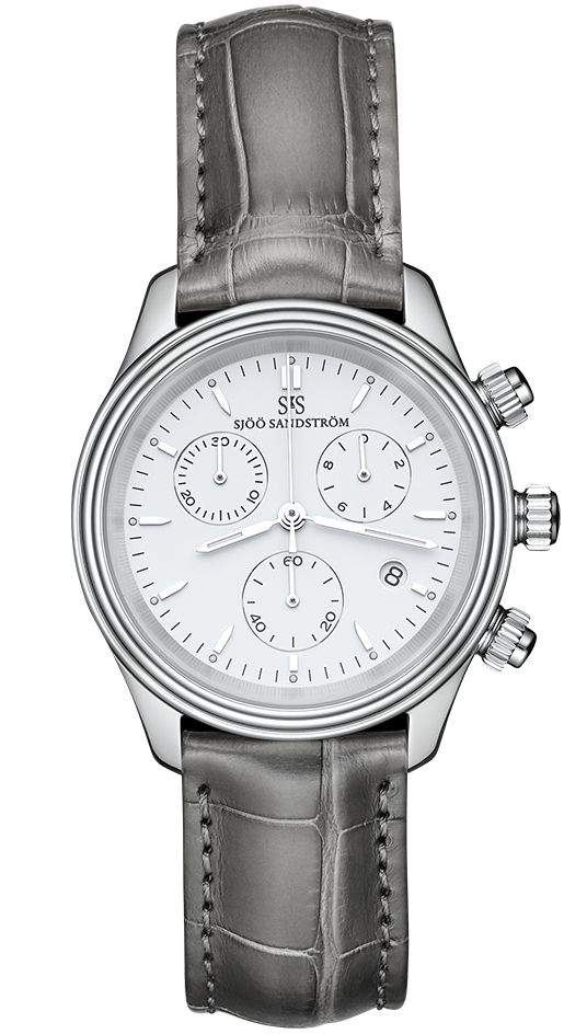 Royal Steel Chronograph 35,5 mm, white dial with grey alligator. #sjöösandström #sjoosandstrom #watch #watches #classic #womenwatch #ladies