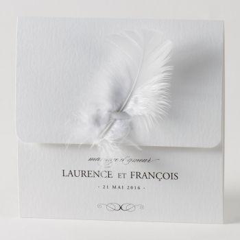 Faire-part mariage raffiné et romantique « Plume » 105-062