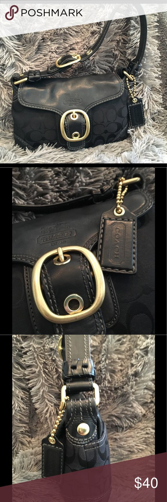 👁👁 Coach Signature Jacquard Mini Handbag This gorgeous Coach Signature Jacquard Mini Handbag fastens with a magnetic front flap and sports gold hardware.  Very gently used and in excellent condition. Coach Bags Mini Bags
