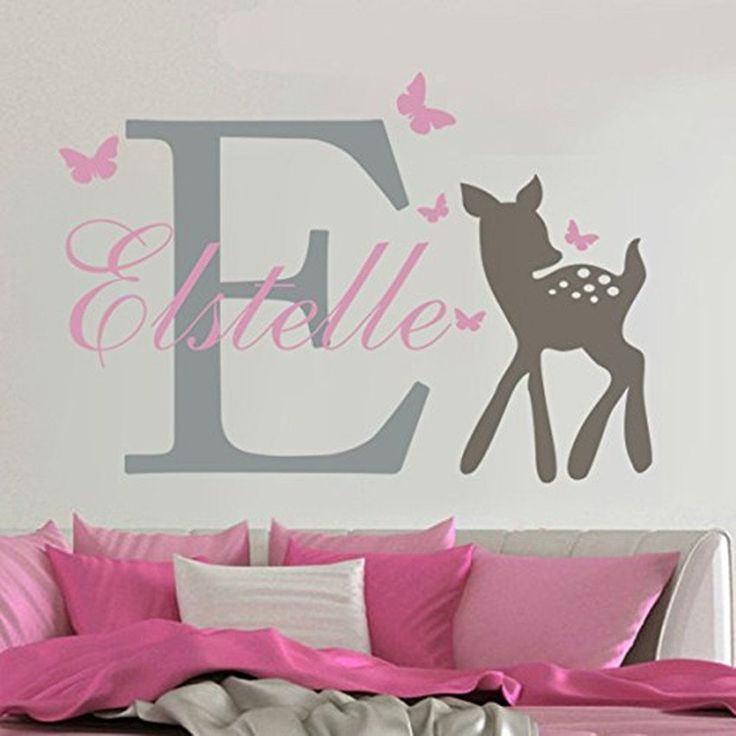 3 Color Customize Wall Decal Erflies Deer Personalized Baby Name Sticker S Nursery Room Home Decor