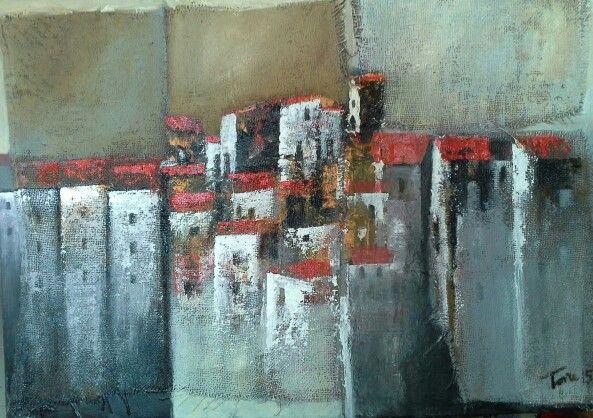 Un pugno di case mixed on juta 70x50 cm Luigi Torre painter 2015