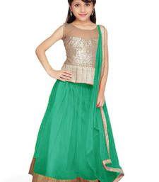 Buy Green Soft Net kids-lehenga-choli kids-lehenga-choli online