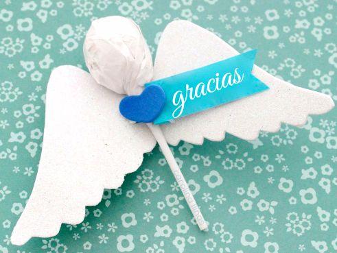 Souvenir para bautizo, ángeles con chupetines
