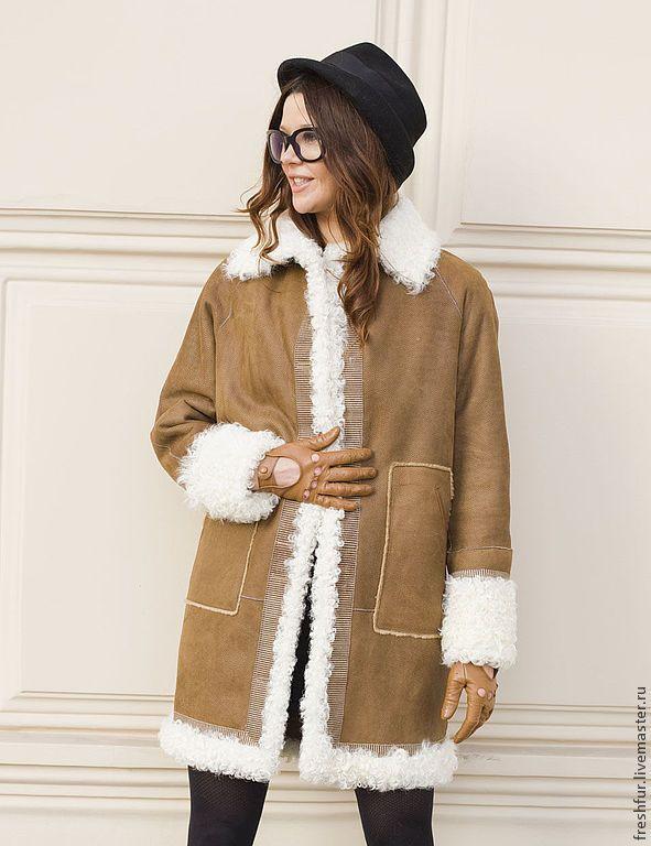 Купить Дубленка из тонкой овчины с отделкой из калгана - бежевый, дубленка, овчина, теплая, пошив на заказ