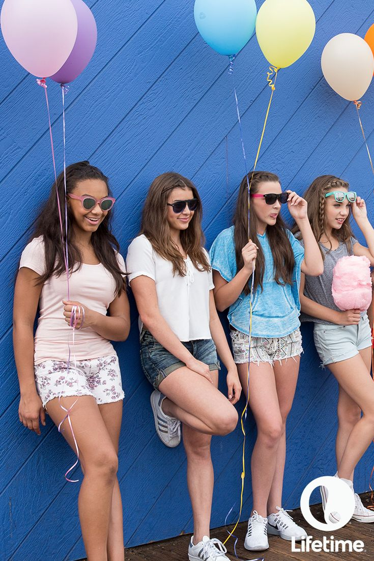 The girls from Dance Moms being balloon-holding, shades-wearing cool!